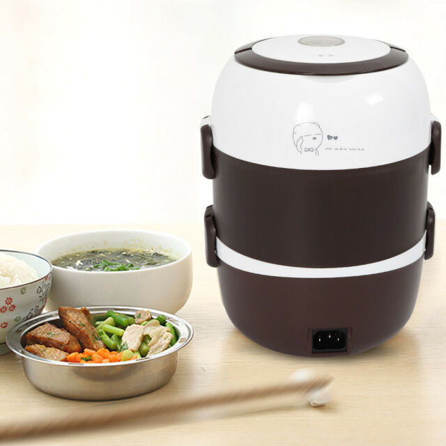 3-Layer Electric Lunch Box Steamer Pot Rice Cooker 2L Stainless Steel Portable