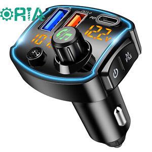 V5.0 Bluetooth FM Transmitter, QC3.0+Type-C PD 18W USB C Schnellladegerät
