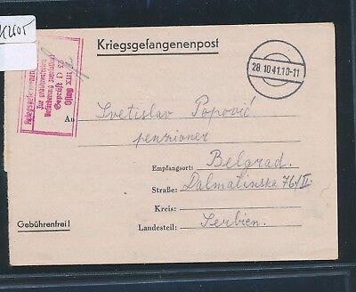 GroßZüGig K2605) Kriegsgefangenenpost Oflag Xiiib Nürnberg Faltbrief > Serbien 28.10.41