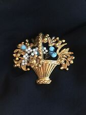Vintage Florenza Dimensional FIGURAL Basket Pin Brooch WIRE Faux Pearl Turquoise
