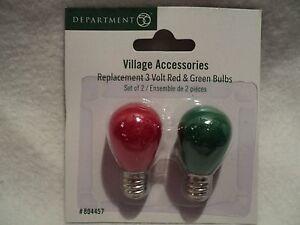 Details About Department 56 Village Accessories 3 Volt Light Bulbs Red Green Set Of 2