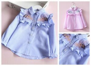Filles-Chemise-Coton-Ete-Top-manches-longues-raye-brode-Tops-Age-2-9-ans