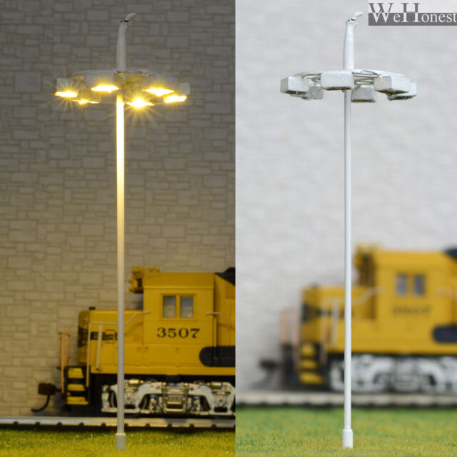 5 pcs OO / HO scale Model Lamp warm white LEDs made Plaza Lamppost Street Light