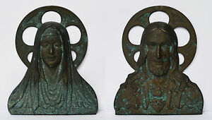2-Reliefs-Wandrelief-Bronze-Relief-6-kg-Maria-Muttergottes-Jesus-Christus-H-38cm