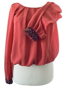 Dorothy-Perkins-Salmon-Pink-Blouse-Cuffs-Special-Occassion-Cropped-Top-Size-8
