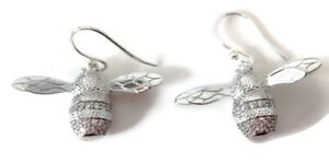Image Is Loading Ble Bee Drop Earrings Sterling Silver New Pouch