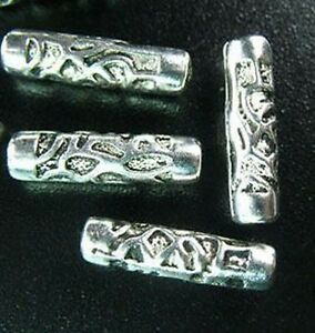 25pcs-Tibetan-Silver-Carved-Tube-Spacer-Beads-T482
