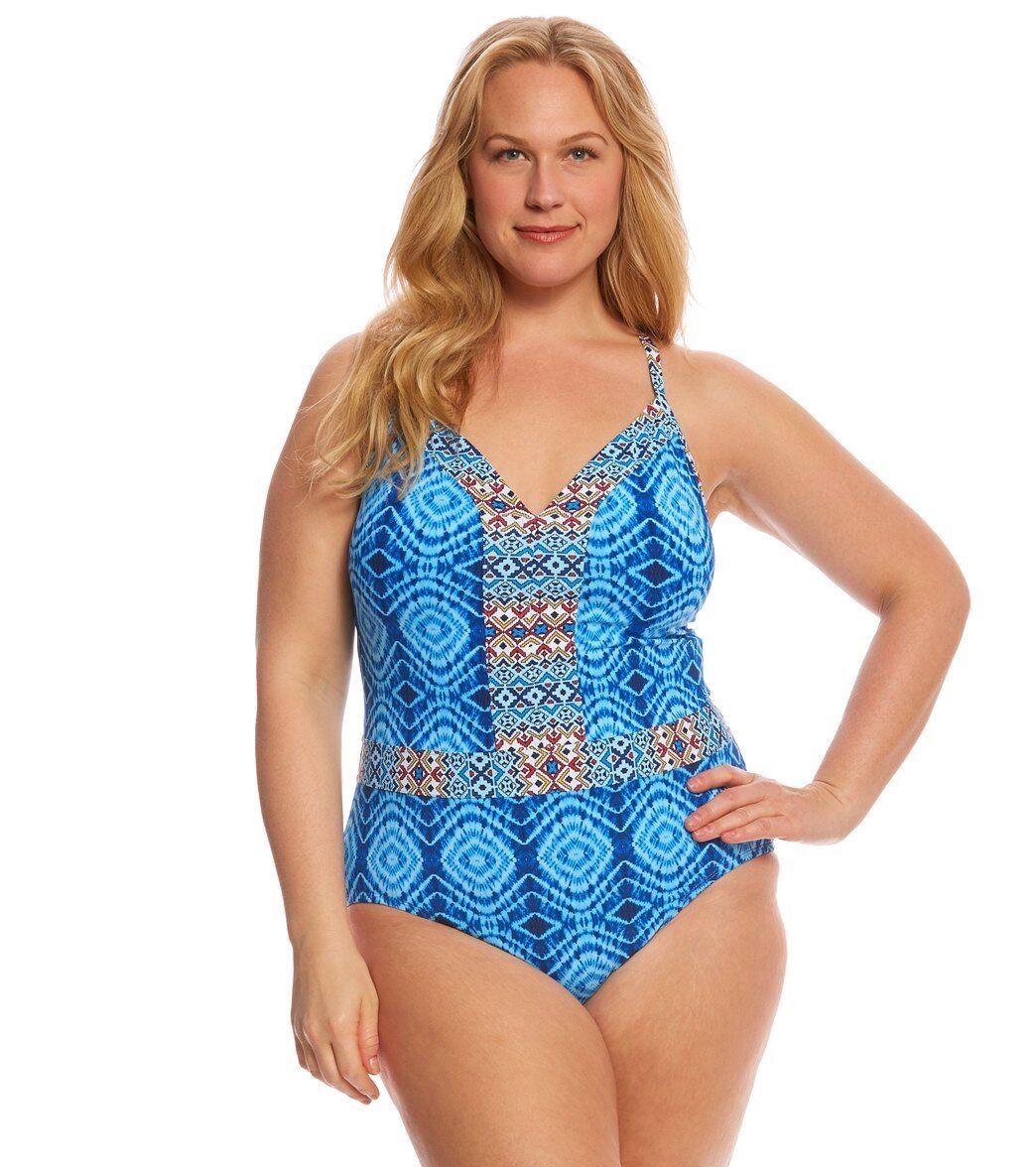NWT blue Rod Beattie Swimsuit One 1 piece Plus Sz 16W  Mykonos Plunge