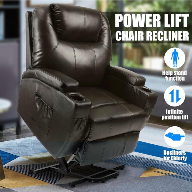 Sensational Power Lift Chair Recliner Armchair Real Leather Wall Hugger Lounge Seat Brown Uwap Interior Chair Design Uwaporg