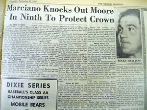 1955-newspaper-ROCKY-MARCIANO-defeats-ARCHIE-MOORE-in-Boxing-heavyweight-fight