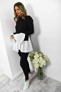 Women-039-s-Ladies-Knitted-Contrast-Peekaboo-Frill-Sleeves-Lounge-wear-Tracksuit-Set