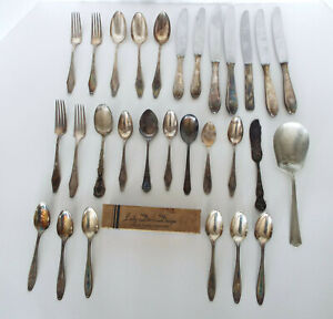 Vintage-Silverplate-Flatware-29-Pc-Estate-Lot-Holmes-Rogers-Stratford-Rostfrei