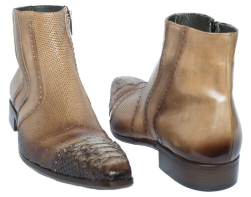 Jo Ghost 559M Italian men beige ankle zip up boots with piton