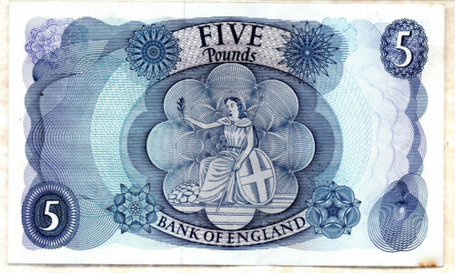 Real bank of england £5 five pound banknotes paper currency 1967 Fforde EF VF