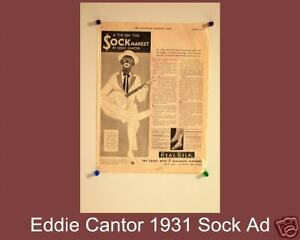 1931-ORIGINAL-Eddie-Cantor-Magazine-Classic-Ad-for-Realsilk-Socks-VERY-RARE
