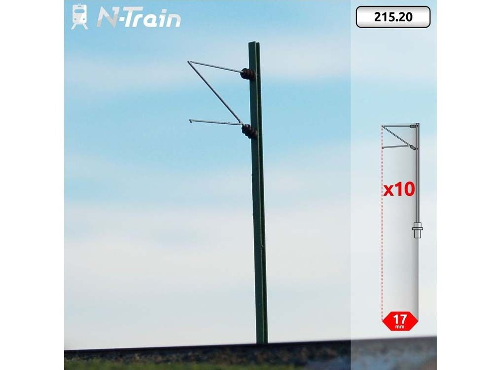 N-Train 215.20 - Oberleitung 10x DB-H-Profil-Masten mit Ausleger Re75 - Spur N