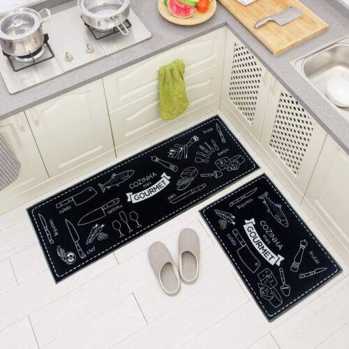 2 Piece Microfiber Non-Slip Kitchen Mat Rubber Backing Doormat Runner Rug Set