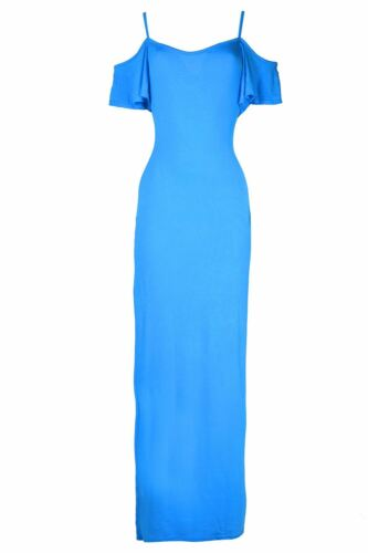 Ladies Womens Strappy Plain Cami Frill Open Cold Off Shoulder Maxi Long Dress