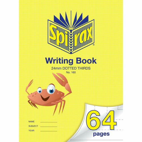 SPIRAX Dotted Spirax 160 24mm Dotted Thirds Writing Book, 64 Pages, 56160