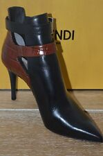 NIB FENDI Womens LAZ Black/Red Leather Ankle Boots w/Side Buckles Size 11 EUR41