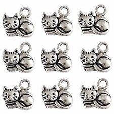 20 Tibetan Silver Cat Pendant Charms 15mm