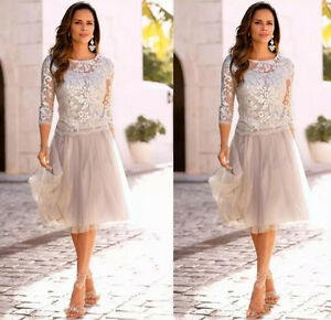 Details about Silver Short Knee Length Mother of the Bride Dress Plus Size  Lace Formal