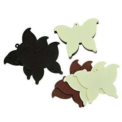 50PCs Wooden Pendants Mixed Butterfly Shaped Charm Fit Necklace/DIY 49.3x36mm