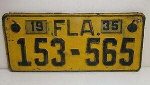 1935 35 Fl Plaque Immatriculation 153-565 Florida Étiquette Haut Niveau De Qualité Et D'HygièNe