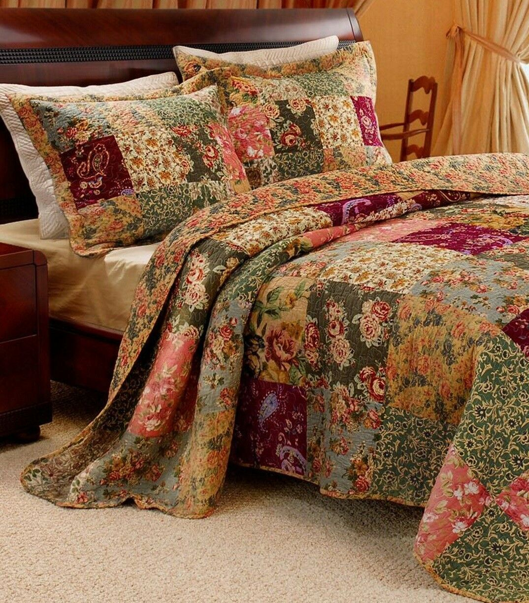 VINTAGE PATCHWORK 3pc KING BEDSPREAD QUILT SET   XXL RED GREEN blueeeE PINK pinkS