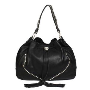 Raviani-Black-Pebble-grain-Cowhide-Leather-Drawstring-Bag-W-Crystals