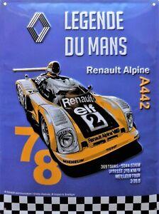 PLAQUE-METAL-vintage-RENAULT-ALPINE-A-442-LE-MANS-78-40-x-30-cm