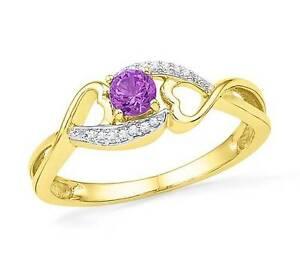 Pretty-100-10K-Yellow-Gold-Amethyst-Gemstone-Diamond-Accent-Heart-Ring