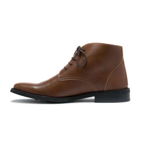 Man vegan chukka ankle boot brown water resistant lace-up dress comfort organic