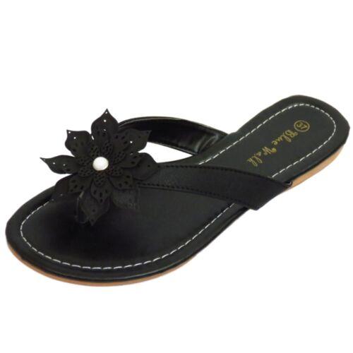 LADIES BLACK TOE-POST FLOWER COMFY SANDALS FLIP-FLOP SHOES HOLIDAY PUMPS UK 3-8
