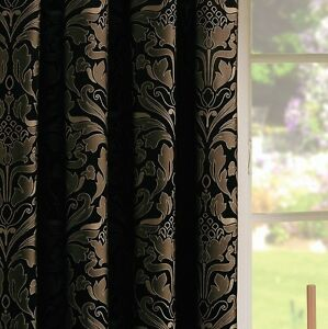 BLACK-Gold-Pencil-Pleat-Lined-Ready-Made-Curtains-Jacquard-Damask-Modern-Luxury