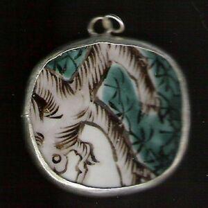 3pcs VINTAGE GEISHA pendants charms WHITE PORCELAIN rectangle CHINESE POTTERY