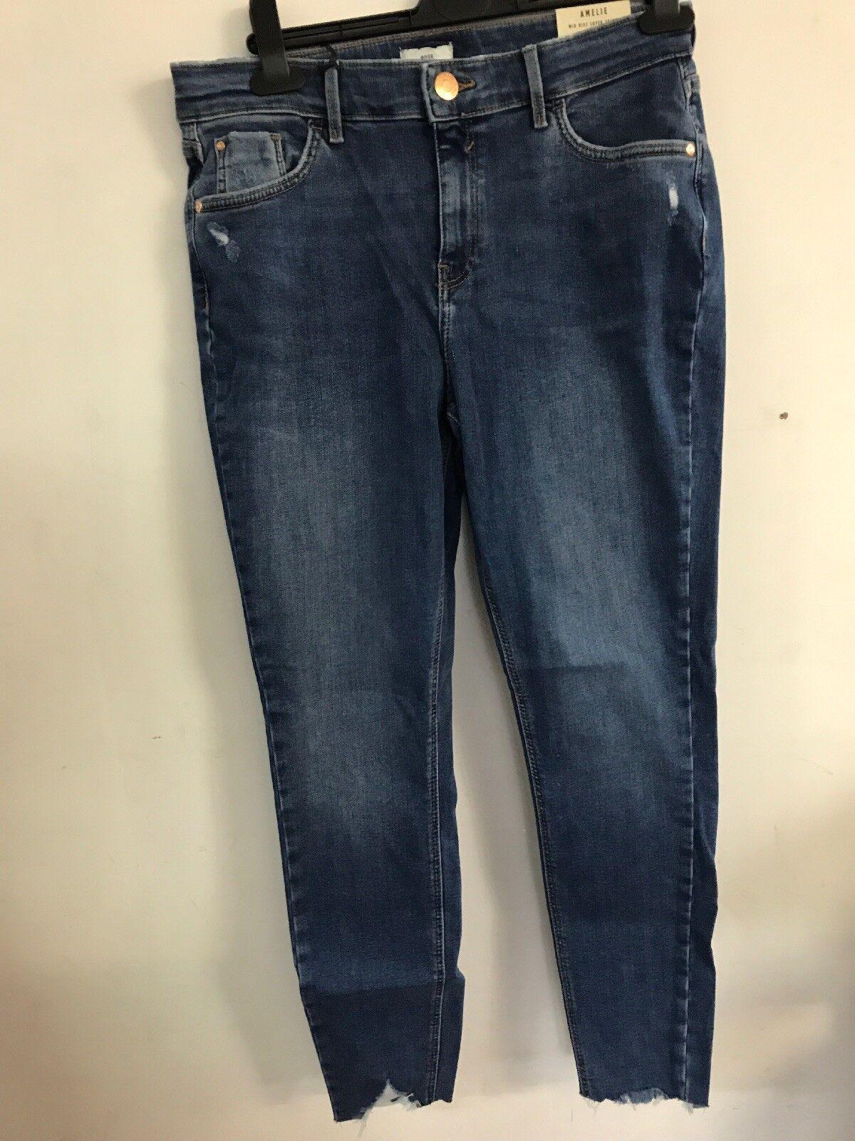 •• River Island damen Mid Blau Denim Amelie super Skinny Jeans UK 8R L32 | Beliebte Empfehlung  | Exquisite Handwerkskunst  | Berühmter Laden  | Rabatt  | Genialität
