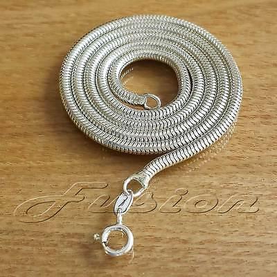 3 mm Solid Sterling 925 Silver Strong Snake Chain Necklace Anklet Bracelet