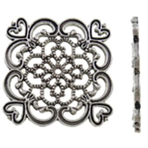 4pc 32mm antique silver finish square shape metal connectors-BB17A