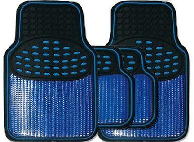Black /& Metallic Blue Heavy Duty Thick Rubber Interior Car Floor Mats 4 Piece