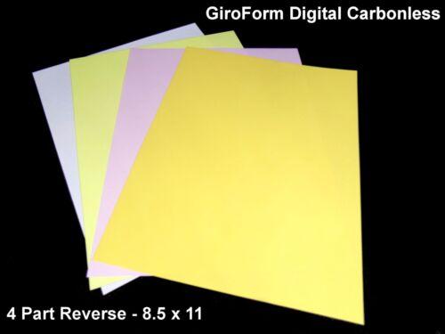 8.5 x 11-4 Part GiroForm DIGITAL Carbonless Paper Reverse 125 Sets 500 Sheets