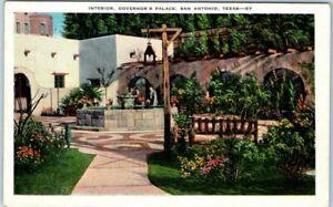San-Antonio-Texas-Postcard-034-Interior-Governor-039-s-Palace-034-Courtyard-KROPP-1930s
