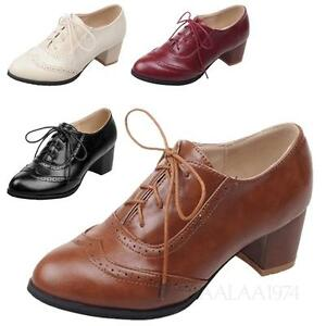 065a6749fc51 Image is loading Womens-Formal-Shoes-Ladies-Vintage-Pumps-Leather-Like-