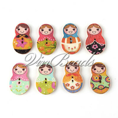 50pcs Mixed Russian Doll Wood Sewing Button Scrapbooking craft 2 Hole 30*21mm