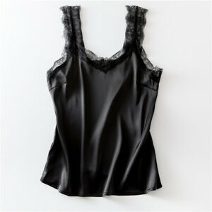 Camisola-Chaleco-Raso-Para-Damas-de-Encaje-Sin-mangas-Prendas-para-el-torso-Sin-mangas-Camisa-Top