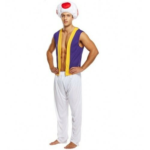 Mens Adult Mario Luigi Toad Mushroom Halloween 1980s Fancy Dress Costume Outfit