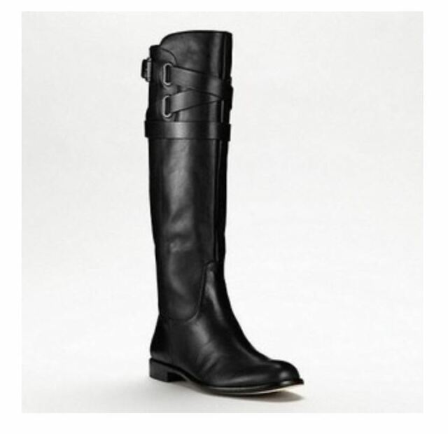 62b00fc5a67 Vince Camuto Kabo Black Leather Buckle Equestrian Knee High Boots 6 ...