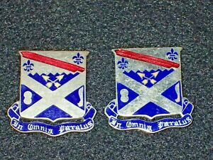 WWII-US-Army-18th-Infantry-Regiment-DI-DUI-Crest-PAIR-Original-Set-Missing-Clutc