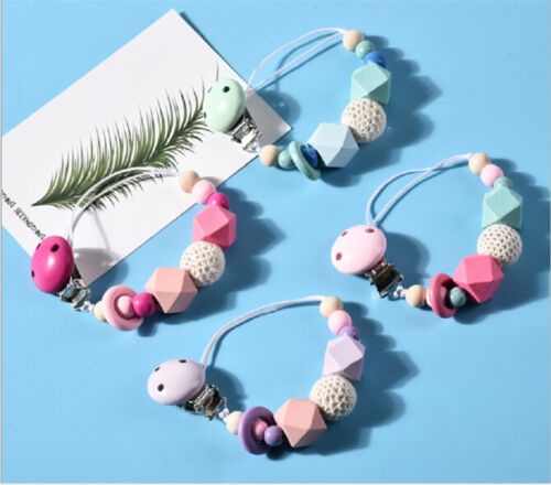 Baby Pacifier Clip Chain Wooden Holder Leash Strap Nipple Holder For Infant-Feed