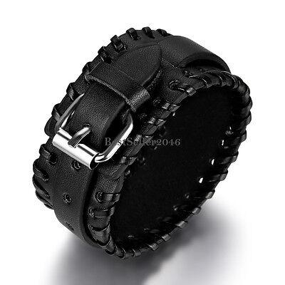 Flat Drawstring Belt Leather Wide Cuff Bangle Mens Womens Bracelet Black / Brown